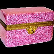 Massive Cranberry Spatter Art Glass Casket or Dresser Box w/Ormolu Mounts