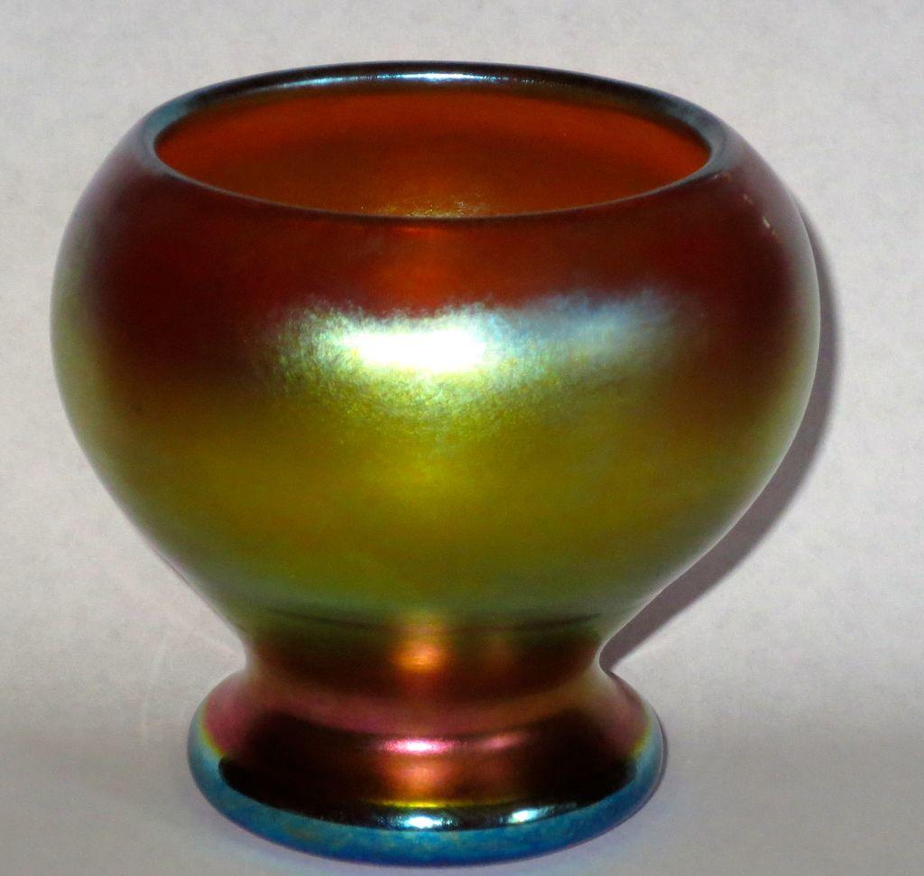 Steuben Gold Aurene Cabinet Corset Vase w/Brilliant Colors