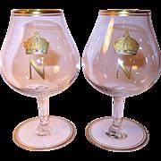 Set/12 Enamel & Gilt Napoleonic Crest Brandy Cognac Snifters