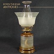 Satin Glass Kerosene Table Lamp with Greek Key Borders and Pearl Top Chimney