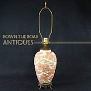 Large Consolidated Lamp & Glass Co. Dogwood Lamp with Original Components - 1920's
