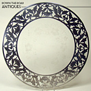 Large Heavy Sterling Overlay Carved Glass Tray c.1890