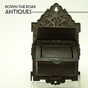 Victorian Solid Bronze Wall-hanging Match Holder - 1880's