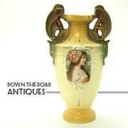 Hand Painted Porcelain Portrait Vase with Winged Gargoyles