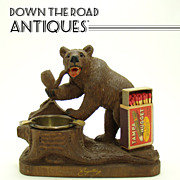 Black Forest Carved Bear Smoking Pipe Match Holder and Ashtray