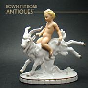 Porcelain Boy Riding Goat c.1920's