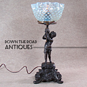 Figural Gas Portable Table Lamp with Blue Opalescent Hobnail Shade -  1880's