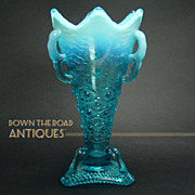 Blue Opalescent Vase with Three Handles - 1920's