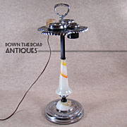 Art Deco Chrome and Akro Agate Glass Smoking Stand