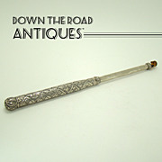 Early Hand-Chased Telescoping Sterling Opera Glass Holder - 1880's