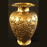 Eastern European Silver Vase with Repoussé Village Scene - 1880's