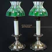 Leaded Kerosene Candle Lamps (Pair) - 1880's