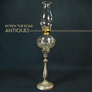 Early Pressed Glass Peg Lamp on Silver Plated Pewter Base - 1870's