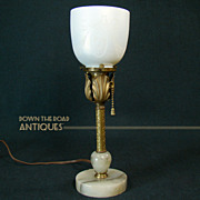 Steuben Marble and Brass Boudoir Lamp - 1920's