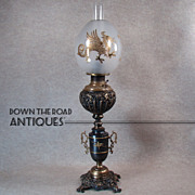 Ornate Banquet Lamp with Lion Heads and Gold Inlaid Egg-shaped Dragon Shade - 1880's (Rare)