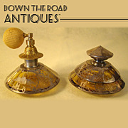 Perfume & Powder Jar Matching Set with Sterling Overlay - 1910