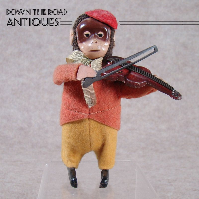 Schuco Tin and Clothe Wind-up Monkey Playing Violin Wind-up Toy
