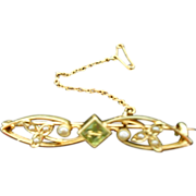 Antique 15K Gold Peridot Brooch with Seed pearls and Original Box-Lovely!!