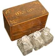 French Cave a Odeurs, Perfume Casket, c 1825, with Baccarat Art Deco Flacons