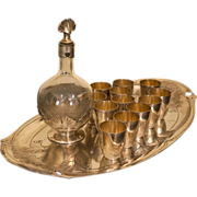 Christofle Gallia and Baccarat French Art Nouveau Liqueur Set for 12, Tray Decanter Cups c 1900