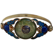 Chinese Art Deco Silver, Jade, Enameled Bats Made for Export Bracelet