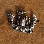 Egyptian Art Deco Scarab Brooch, Opal, Rubies, 800 Silver c 1925
