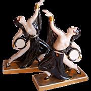 ROBJ Paris Art Deco Semi Nude Tambourine Dancers Bookends c 1925