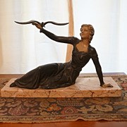 Signed Limousin French Art Deco Beautiful Lady with Bird Sculpture on Marble