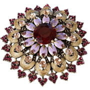 Vintage Yellow Gold Tone Multi Round Ruby Red Pink Amber Glass Rhinestone Enameled Extra Large Round Flower Design Pin Brooch