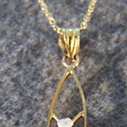 Vintage 10k Gold Diamond Cultured Pearl Bold Lavaliere Pendant