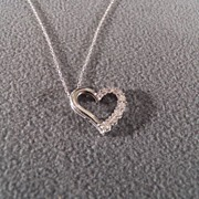 Vintage Sterling Silver Bold Floating Heart 8 Round Diamond Pendant Charm Necklace Chain
