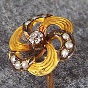 Vintage 14K Yellow Gold Diamond Cultured Pearl Stick Pin w/ Box