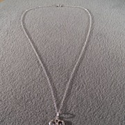 Vintage Sterling silver Bold Classic Antique Key 7  Round Cut Diamond Pendant Charm Necklace