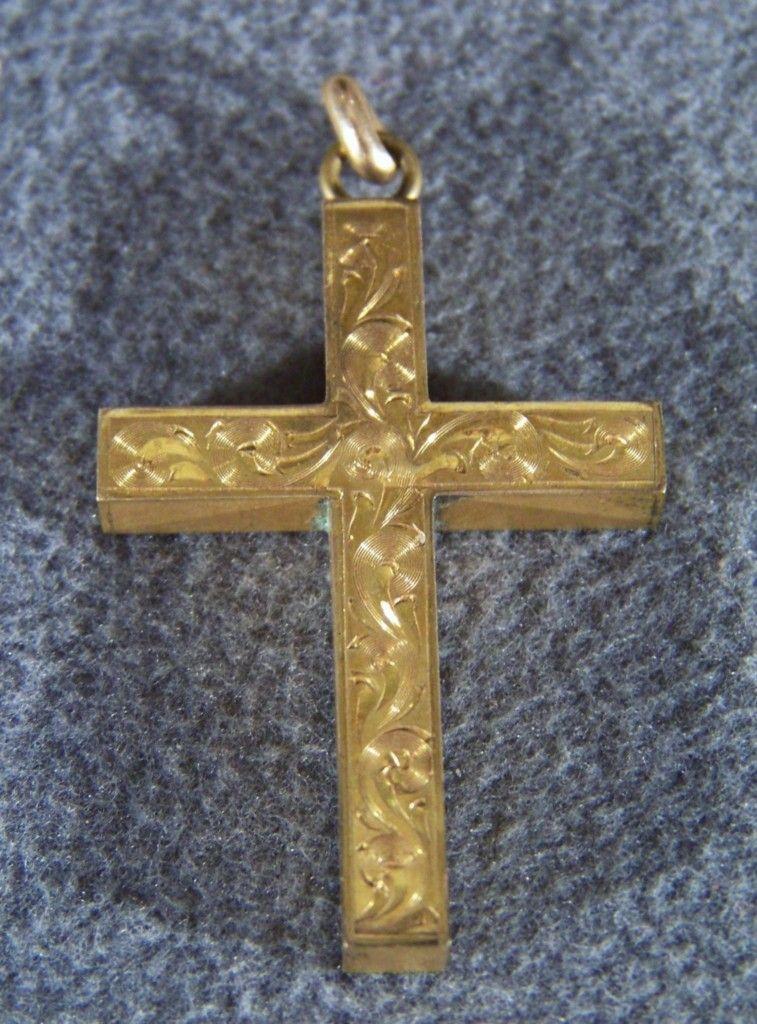Vintage Bold 12 K Yellow Gold Fill Fancy Etch Cross Pendant Charm