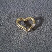 Vintage 14 K Yellow Gold Floating Heart  Pendant Charm Round Cut Diamond