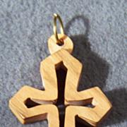 Vintage Wood Bold Danish Modern Cross Pendant Charm