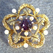 Vintage 14K Gold Cultured Pearl African Amethyst Pin Pendant