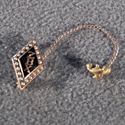 Vintage 10 K Yellow Gold Marquise Black Onyx 20 Cultured Seed Pearls Zeta Beta Chi Sorority Fancy Pin Brooch