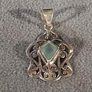 Vintage Sterling Silver Marquise Aqua Marine Fancy Filigree Scrolled Bold Pendant Charm