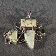 Vintage Sterling Silver 3 Rectangle Triangle Striated Agate Round Peridot  Fancy Pendant Charm