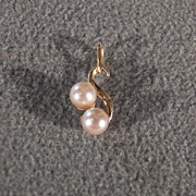 Vintage 14 K Yellow Gold 2 Round Cultured Pearl Fancy  Swirled Pendant Charm