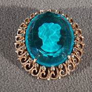 Vintage Yellow Gold Tone Oval Royal Blue Glass Fancy Carved Cameo Multi Round Rhinestone Pin Brooch