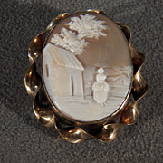 Vintage 12 K Yellow Gold filled Fancy  Raised Relief Victorian Style  Carved  Landscape Female Figural Cameo Pin Brooch