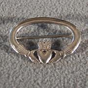 Vintage Sterling silver Irish Claddagh Wedding Shaped Classic Pin Brooch