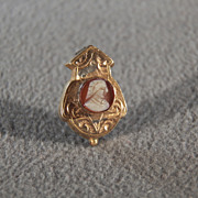 Vintage 12 K Yellow Gold Filled Fancy Raised Relief Etched Carved Cameo Pin Brooch