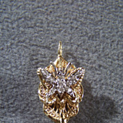 Vintage 14 k  Yellow White Gold 19  Round Diamond Butterfly Fancy Scrolled Etched Filigree  Pendant Charm Slide Enhancer       W