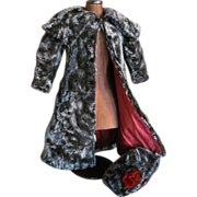 "Fabulous Faux Fur COAT & BONNET for Antique 24""-26"" French Bebe or German Doll"
