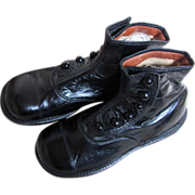 PRISTINE  Antique Hi Top Button Black Leather Shoes 7 inches long_GREAT FOR BIG BEARS or DOLLS
