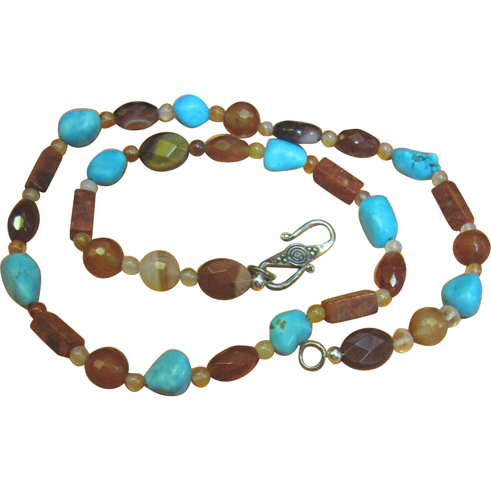 Nice Cut Stone Necklace, Agate, Carnelian, Turquoise, Coral, Ships Free!