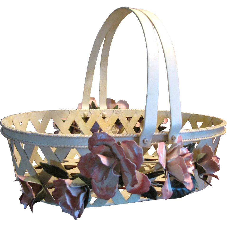 Lovely Vintage Hand Painted Metal Tole Floral Basket